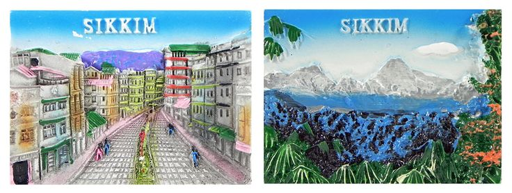 Landscape of Sikkim - Set of Two Magnets (Poly Resin)
