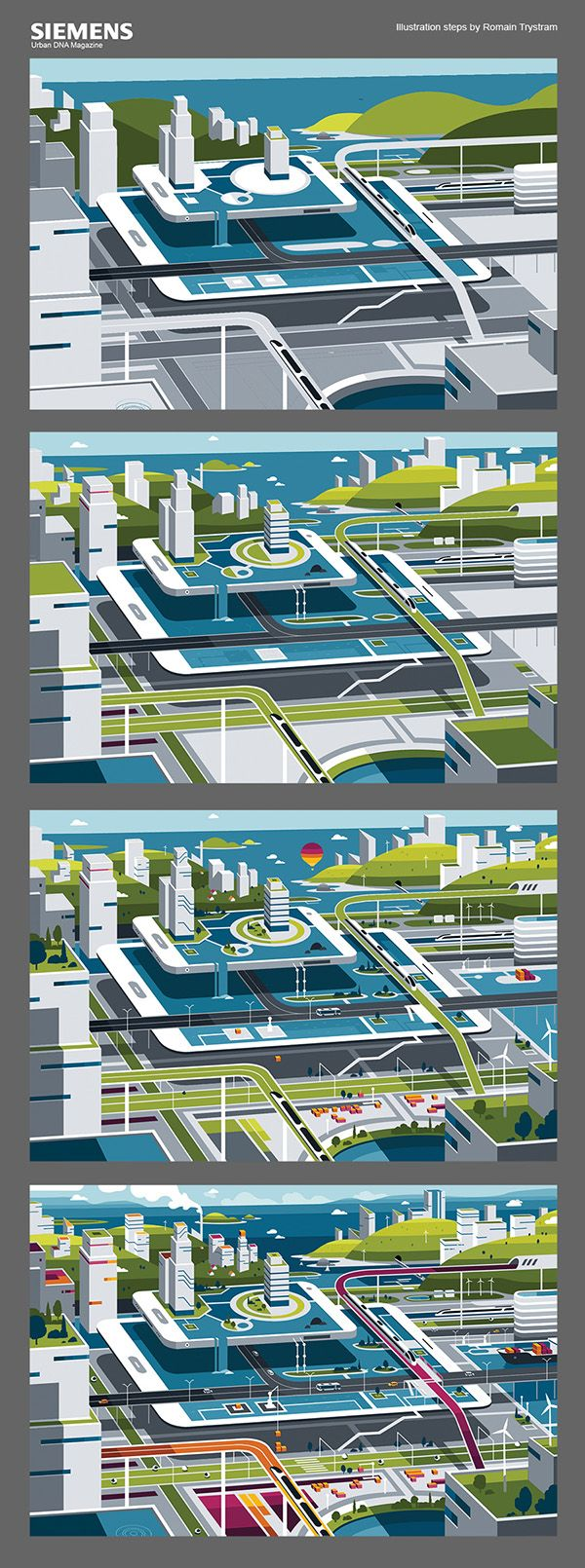 Siemens Urban DNA Digital Art, Editorial Design, Illustration   I was commissioned by independent medien design to do a couple of illustrations for Siemens Urban DNA Magazine issue n°5.  They asked me to illustrate the process of a new service that Siemens have launched.