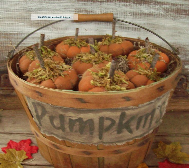 primitive halloween | Primitive Fall Halloween Splint Wood Basket~with Pumpkins~crow~light ...