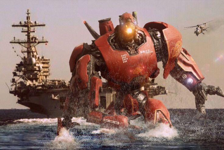 "CHINA SEA, SEPT 7, 2022. *Crimson Typhoon on it's fourth mission to fight Kaiju Tentalus. Featuring 7"" NECA Pacific Rim Mark-4 Jaeger Crimson Typhoon. Pic by Pacific Shatterdome. IG: pacific_shatterdome"