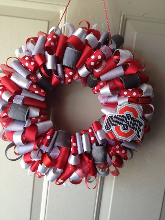 Ohio State Buckeyes Ribbon Wreath - If only I had found this when it was still summer, I would actually be able to make it!