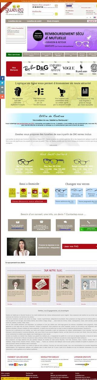 Gweleo    Les lunettes de vue et lunettes de soleil proposées par cet opticien en ligne depuis 2011 vous permettent d'économiser en toute sécurité - Paris 20, Paris, Île-de-France