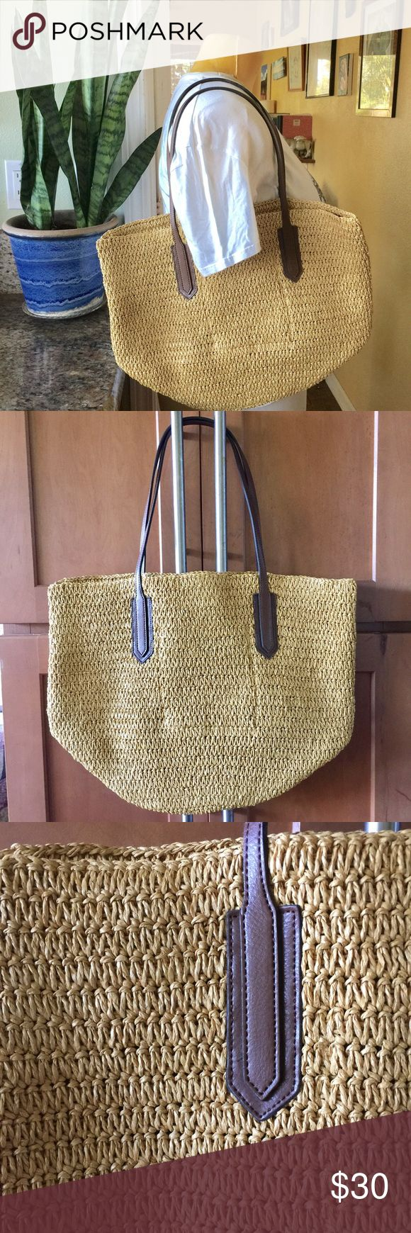 J Crew woven market tote J Crew woven tote. Perfect for everyday, farmers market, beach. NWOT. Perfect condition. J. Crew Bags Totes