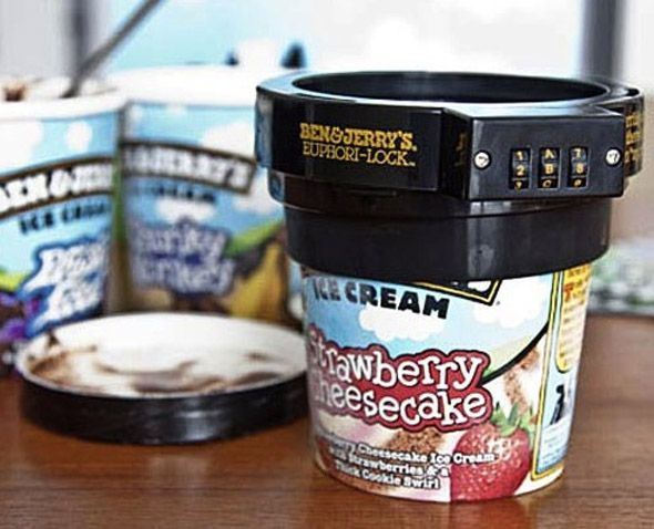 """Reacting to a customer suggestion that tubs should come with padlocks to prevent others from stealing your ice cream, Ben & Jerry's has invented a 'Euphori-Lock'. The combination lock ($6.64) fits onto the top of Ben & Jerry's tubs. It comes with the message: '""""I'm terribly sorry but there is no 'u' in 'my pint'"""". This stunt works because it is essentially suggesting that the ice cream is so good that others would want to take it from you, even if you have never had the thought yourself."""