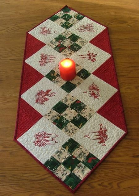 Advanced Embroidery Designs. Free Projects and Ideas. Christmas Table Runner with Redwork Embroidery.