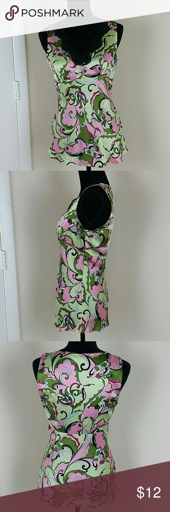 JALOUX Small Silk Pink Green Paisley Floral Cami JALOUX Sz Small Silk Pink Green Paisley Floral Cami Black Lace V-Neck Blouse Top Jaloux Tops Camisoles