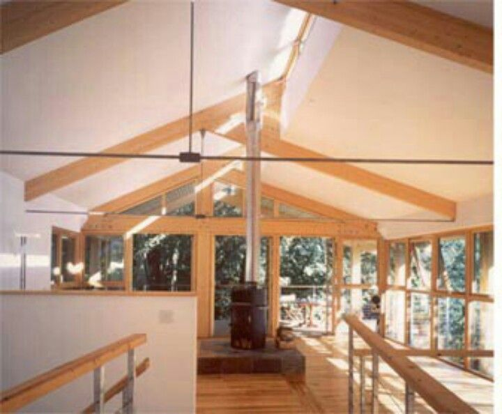 Clerestory windows with exposed beams this cabin for Clerestory roof truss design