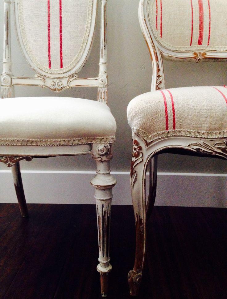 European Grain Sack Upholstered Antique Chair Upholstered