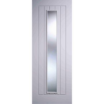 Image of Five Mexicano White Primed Doors with Clear Safety Glass and Vertical Lining