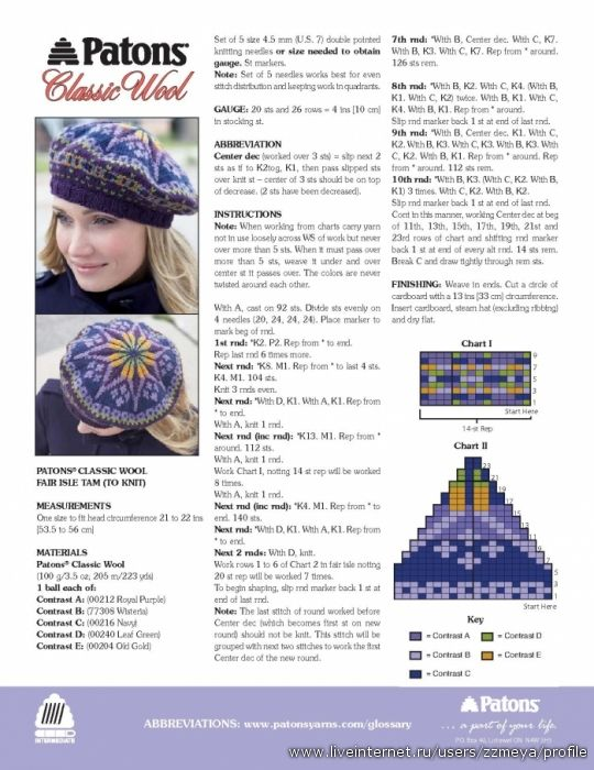 Fair Isle Tam by Patons