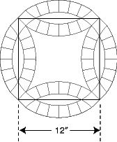 "Double Wedding Ring templates.  Finished circular design is approximately 17"" across. Includes yardage for quilts in multiple sizes. Comes with a 28-page instruction booklet for using the templates, cutting fabrics, scalloped binding, and a method for sewing curved seams that can be applied to other patterns with curved seams, like Winding Ways. Choose pieced arc style or single arc.  http://www.frommarti.com/dwr.shtml"