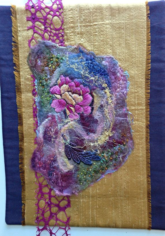 Silk and Fiber Wall Art Felted Hand Stitched by StitchesnQuilts