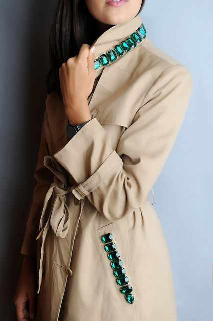 DIY Burberry Inspired Jewelled Trench by apairandaspare, via Flickr: Diy Fashion, Fashion Diy, Burberry Trench, Diy Clothing, Diy Jewels Trench Coats, Diy Burberry, Burberry Inspiration, Burberryinspir Jewels, Inspiration Jewels