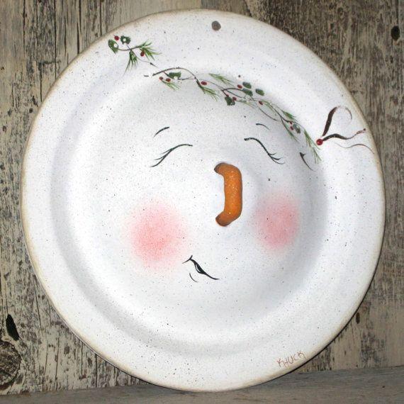 Snowman enamelware pot lid handpainted vintage by KathysKountry, $12.00
