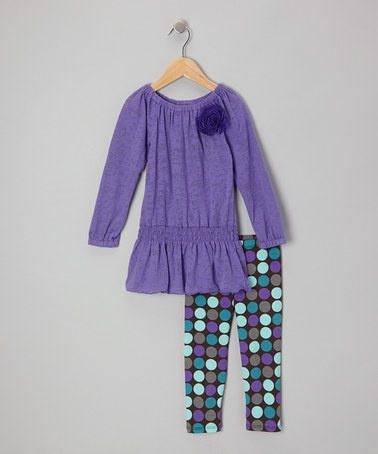 Take a look at this Purple Tissue Drop-Waist Tunic & Dot Leggings - Toddler & Girls by Girlfriends by Anita G. on #zulily today!