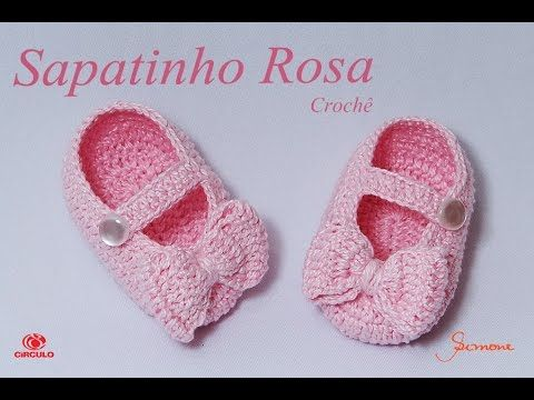 Sapatinho de Crochê Rosa | Professora Simone - YouTube