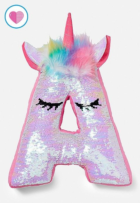 Unicorn Flip Sequin Initial Pillow  1f694f747eb4