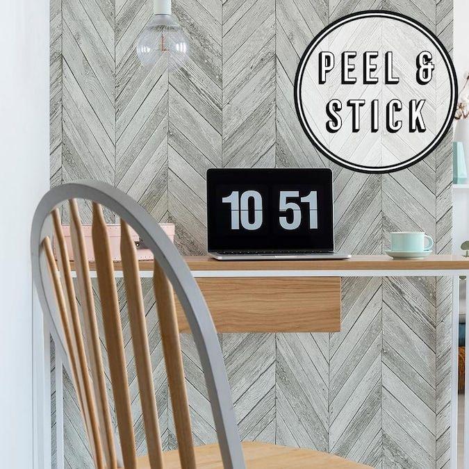 Transform Transform Light Grey Herringbone Wood Peel And Stick Wallpaper Lowes Com In 2020 Peel And Stick Wallpaper Herringbone Wood Peel And Stick Wood