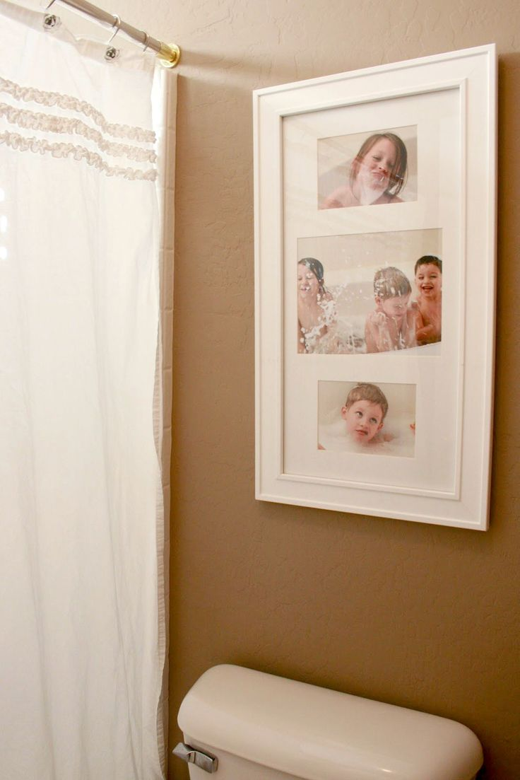 Framed pictures of the kids in the tub for the bathroom. Love this idea!...It would be great to get me when i was little, @Anthony McDonald when he was little, & Draven when he was little and put in a frame.