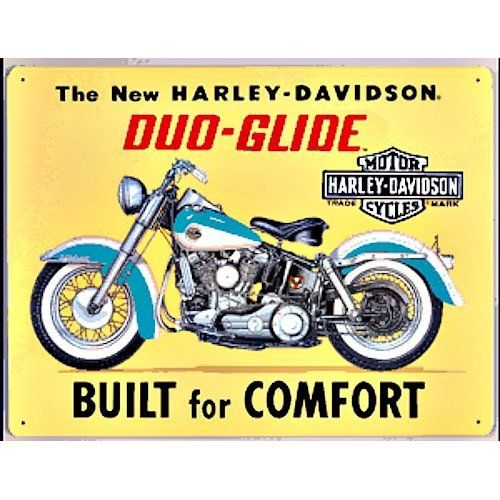Harley Davidson Duo Glide Sign - The new H-D Duo Glide, built for comfort! Ande Rooney Harley Davidson Embossed Tin Sign Collection utilizes lithographed on tin process, this makes for a more detailed