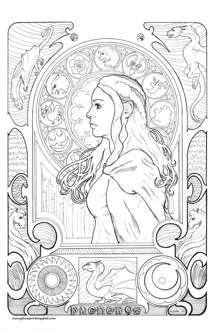 Adult coloring book game of thrones - My Art Nouveau Game Of Thrones Inspired Image Of Danaerys Targaryen Adult Coloringcoloring Bookscolouringcoloring