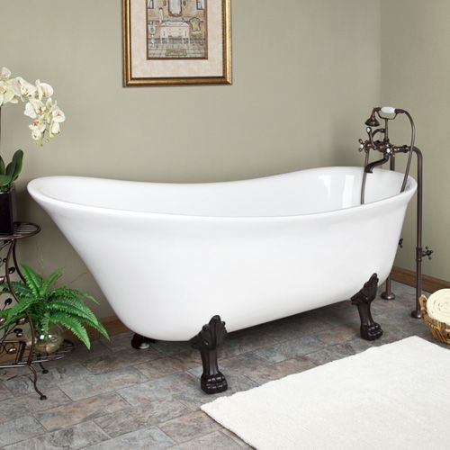 "17 Best Antique Bathtubs Images On Pinterest: 68"" Tabot Acrylic Slipper Clawfoot Tub With Lion Paw Feet"
