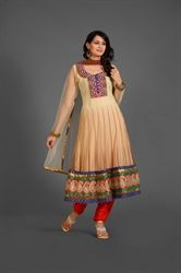 Picture of Beige and Red Kameez with Churidar