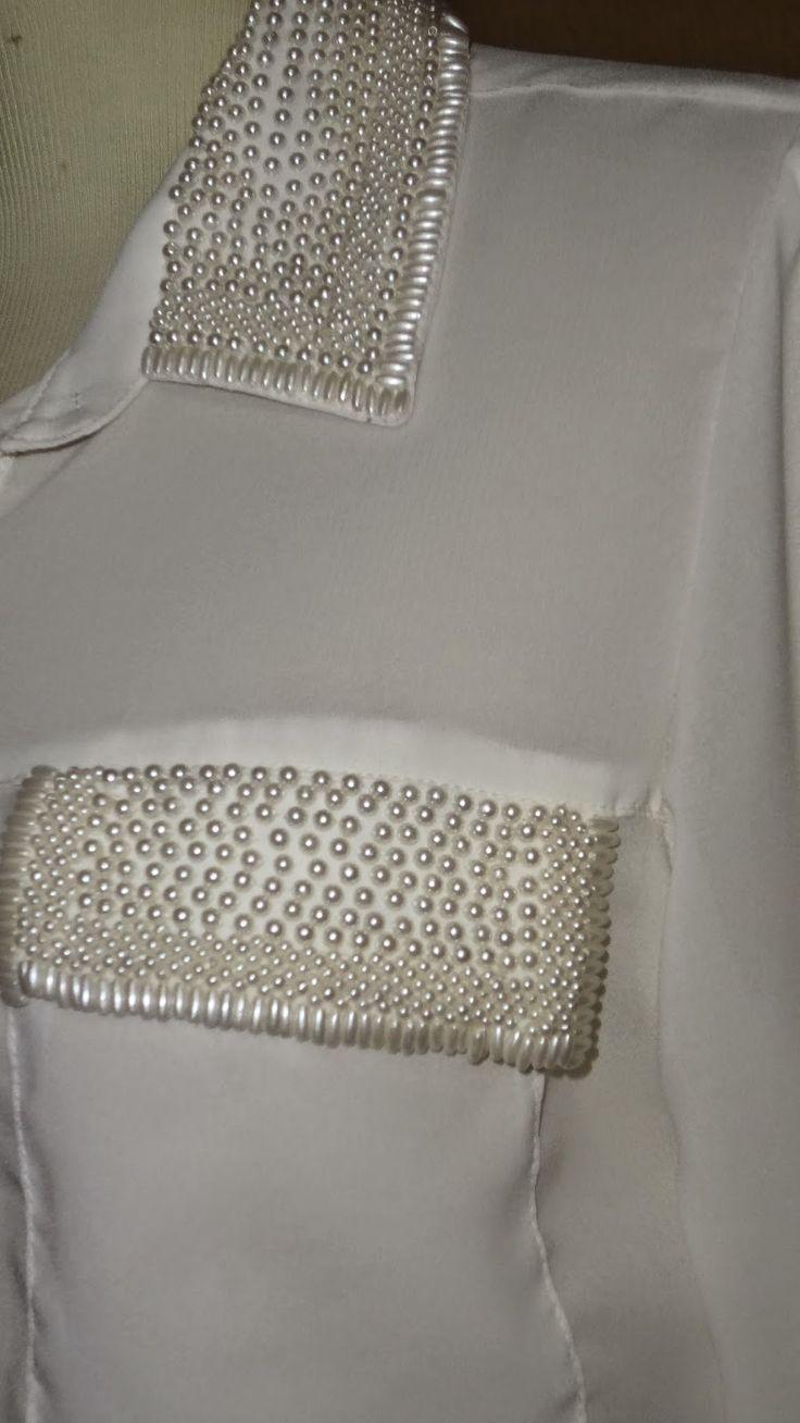 Mariléia: Camisas Detalhes bordados em pedrarias