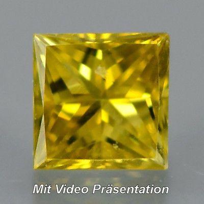 0.08 ct. Zauberhafter Goldgelber 2.5 mm Diamant mit Karree- Prinzess- Schliff