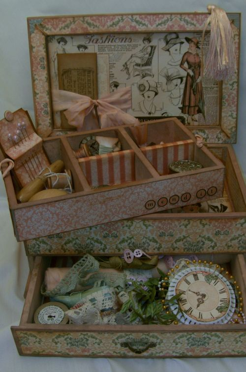 Beautiful Altered Sewing Box...Graphic 45 materials and tutorial