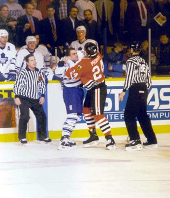Tie and Bob Probert square off in one of many fights the two enforcers would have during their careers.