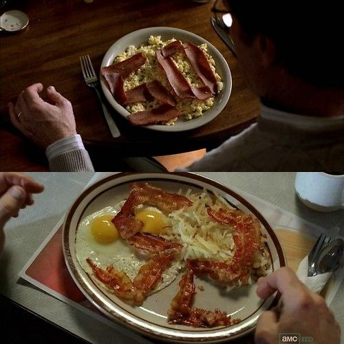 "And another very well-known visual reference: Walt's 50th birthday celebrated with a plate made of veggie bacon, courtesy of Skyler. Walt's 52nd birthday meal, made with real bacon, eaten all alone. | 18 Fun Easter Eggs, Callbacks, And Moments Of Really Cool Symmetry From The ""Breaking Bad"" Finale"