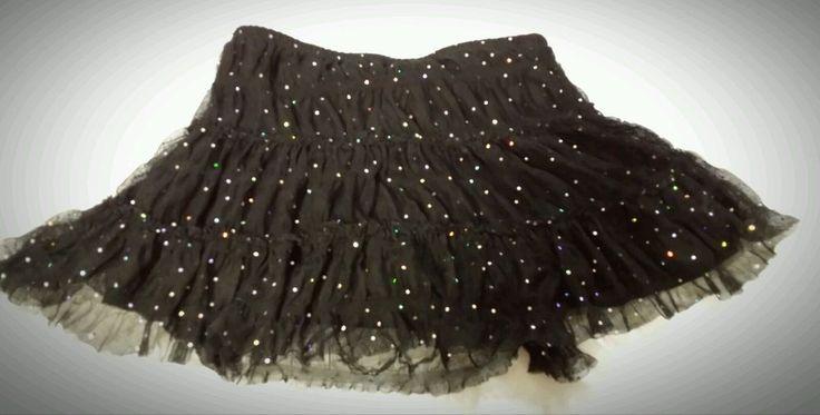 Kohana girls 12 14 skirt black poly spandex under shorts bling rhinestone  #kohana