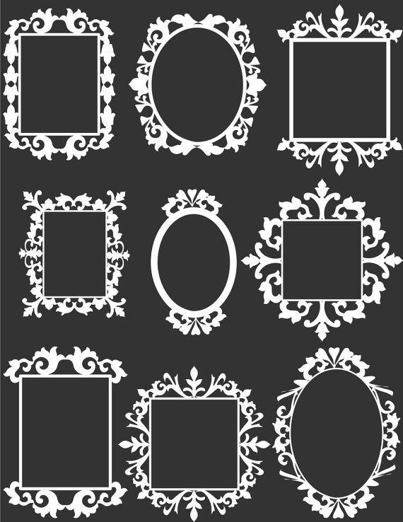 9 blanco decorativo marco Clip arte Set Digital por aprilhovjacky