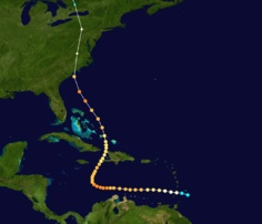 Oct 1954..Hurricane Hazel made landfall near the North Carolina/South Carolina border as a Category 4 storm, on the morning of October 15. Hazel struck Myrtle Beach, South Carolina before moving north, becoming extratropical as it passed over Raleigh, North Carolina, still a strong Category 3 hurricane