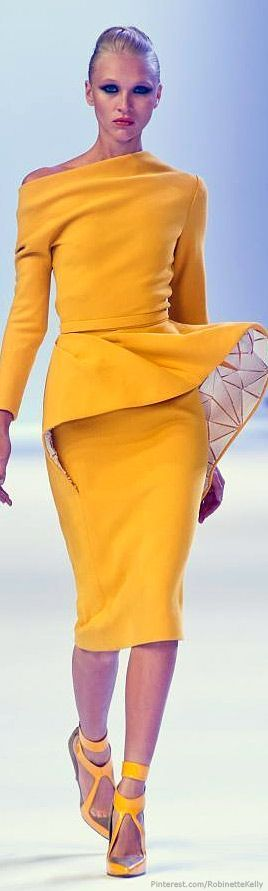 Stephane Rolland Haute Couture | S/S 2014 monochrome outfit peplum top pencil skirt yellow