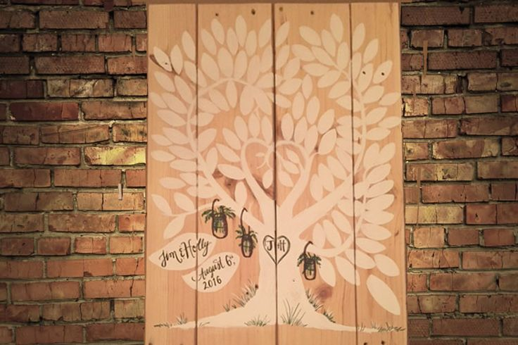 Custom Wedding Tree design for the Wedding Guests to sign.  Hand painted on Upcycled wood!