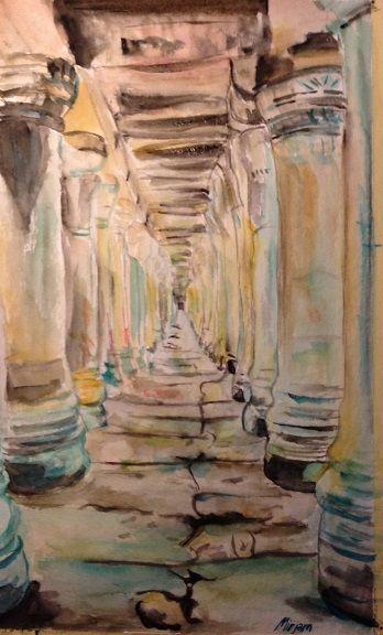 Antique columns. Endless hall. Timetravel.  Watercolor/aquarell painting Facebook page: Mirjam's Art https://www.facebook.com/pages/Mirjams-Art/152757271491447?ref=bookmarks