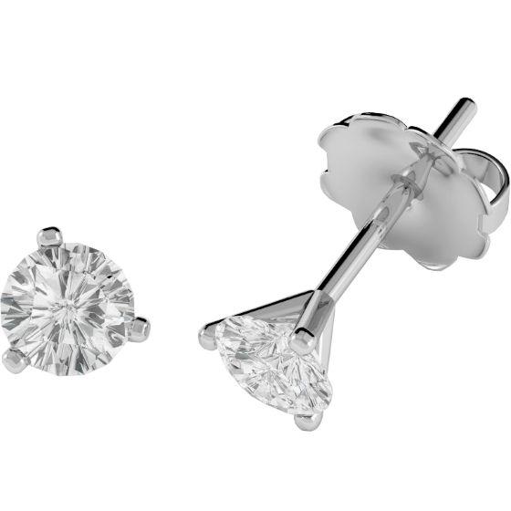 Cercei Stud Aur Alb 18kt cu Diamant Rotund Briliant Setat cu 3 Gheare - RDE005W