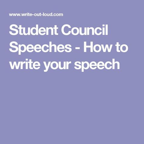 how to write a campaign speech for high school