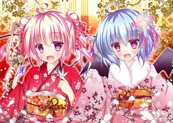 ANIME ART Anime. . .kimono. . .colorful. .paddle