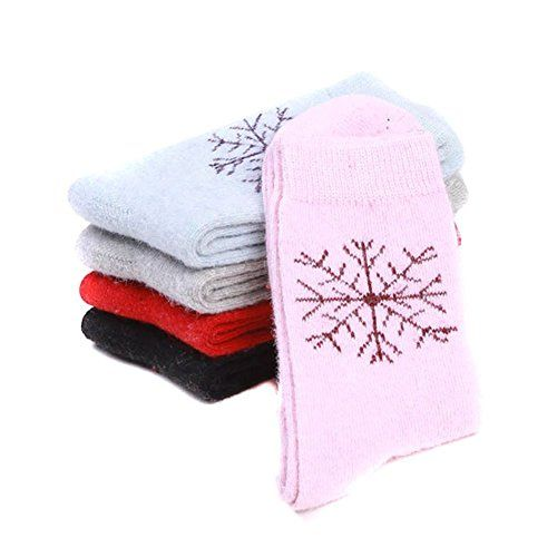Wowlife 5 Pair Assorted Womens Wool Socks Snowflake Pattern Warm Thick Socks *** Read more  at the image link.