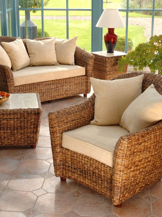 , Modern Rattan Conservatory Furniture Ideas Like Rattan Couch And Armchair Also Rattan Coffee Table And Occasional Table With White Marble Countertops Also Beige Pouffe And Cushions Fabric Colors: Design for Conservatory Ideas