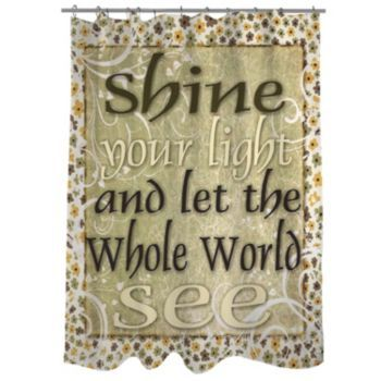 Thumbprintz+''Shine+Your+Light+And+Let+The+World+See''+Fabric+Shower+Curtain