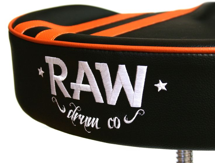 RAW drum co. embroided logo, rally stripe black and orange drum throne http://www.drumshop.co.uk/collections/drum-thrones/products/raw-steve-mcqueen-black-stripe-top-drum-throne-4-legs