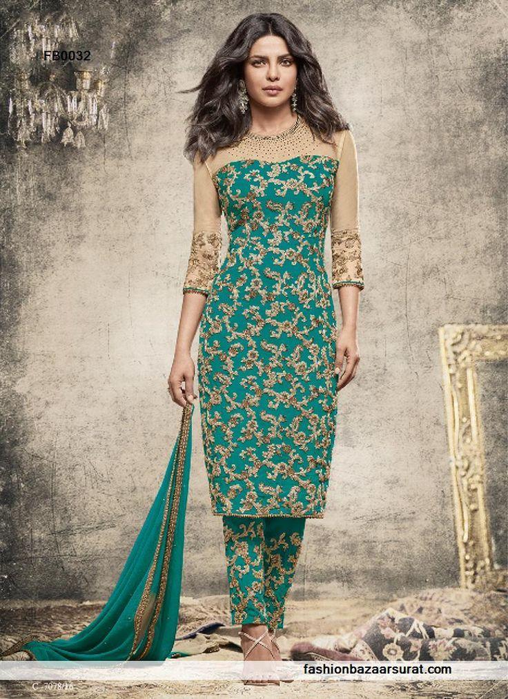 buy Priyanka Chopra Gripping Green Georgette Churidar Salwar Suit online, buy Salwar Kameez online, Salwar Kameez online shopping