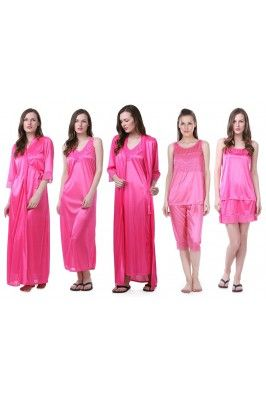Make your purchase worthy by getting this pack of 6 pink coloured satin nighty set #nightysetonline #pinknighties #nightwearonline #sleepwearonline #womensfashion #womenssleepwear Shop here-  https://trendybharat.com/women/lingeries-sleepwear/gown/pack-of-six-pink-satin-nighty-set-6pcs-nighty