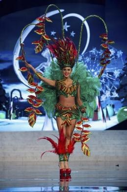 Miss Bolivia Yessica Mouton performs onstage at the 2012 Miss Universe National Costume Show at PH Live in Las Vegas, December 14, 2012. REUTERS-Darren Decker-Miss Universe Organization L.P.