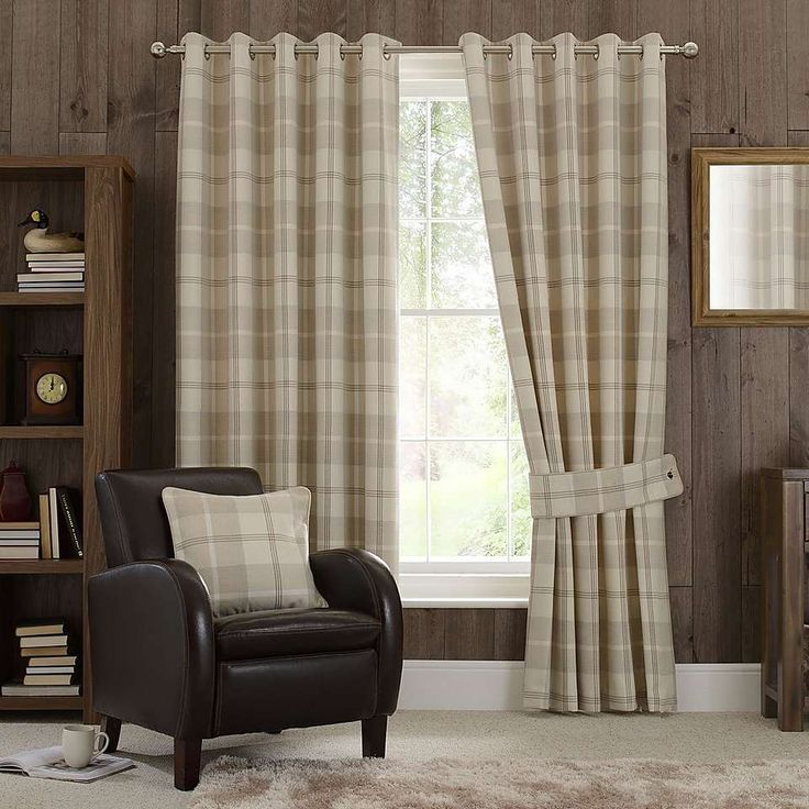 Natural Highland Check Eyelet Curtain Collection | Dunelm