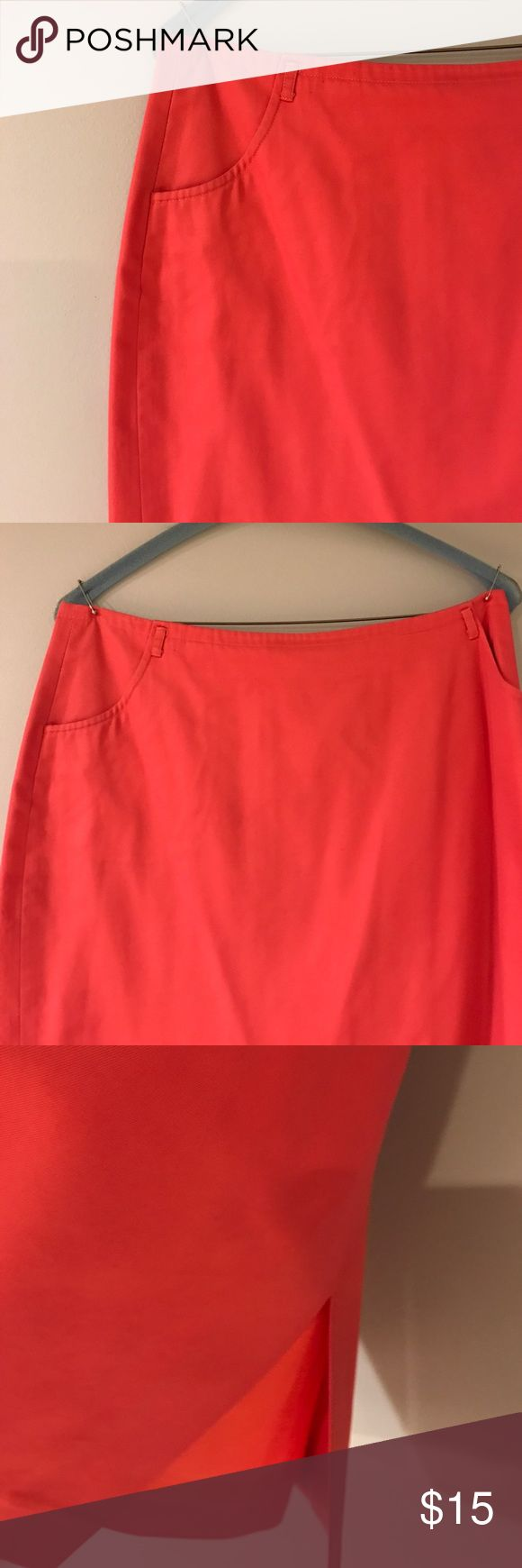 Coral Pencil Skirt Pockets! Great for spring and summer. Lightweight. Lined. 14 inches across waist, 25.5 inches long. Has belt loops but i got it without a belt. Reposh. Small pen marking on the front. J. Crew Skirts Pencil